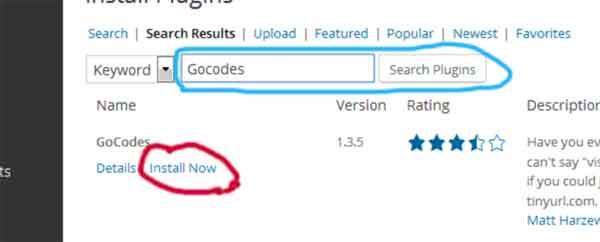 Install Gocodes WordPress Plugin