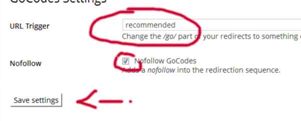 Settings Gocodes Plugin